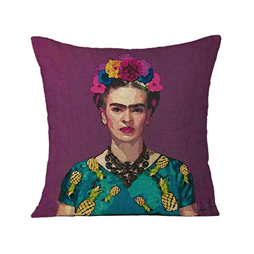 FEIRAN 3D Impreso Frida Kahlo Autorretrato Funda de Almohada Funda de cojín para Sofá Coche Decoración para el hogar 20 45X45cm