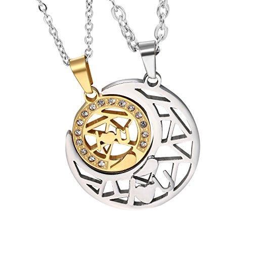 Día de la Madre Regalo Collar Luna con 2 Cadenas Sol Acero Inoxidable Buen Regalo para Madre y Hija Regalo para Amor
