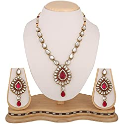 Dancing Girl Bridal Wedding Rani Pink Metal Alloy Jewellery Set with Necklace and Earring for Women