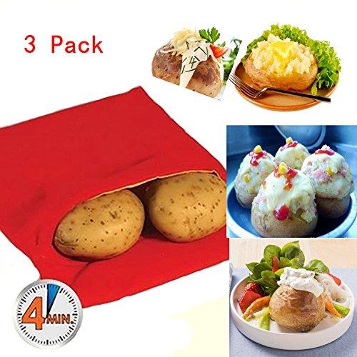 Someamy Paquete de 3 Bolsas de Patatas de Microondas – Bolsa Potato Express, Rojo