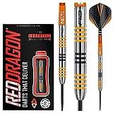 Red Dragon Amberjack 3: Steel Dartpfeile 22 Gramm Profi Steeldarts Set, 3 x Steel Darts mit Flights und Schäfte