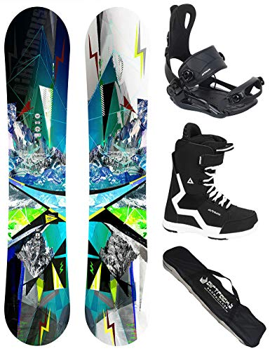 Airtracks Snowboard Set/Board Places Wide Flat Rocker 159 + Snowboard Attacchi Master + Boots Master...