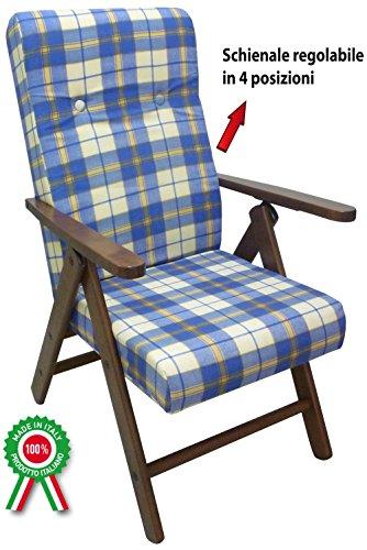 Poltrona divano sedia Molisana in legno di faggio noce marrone cuscino blu scozzese
