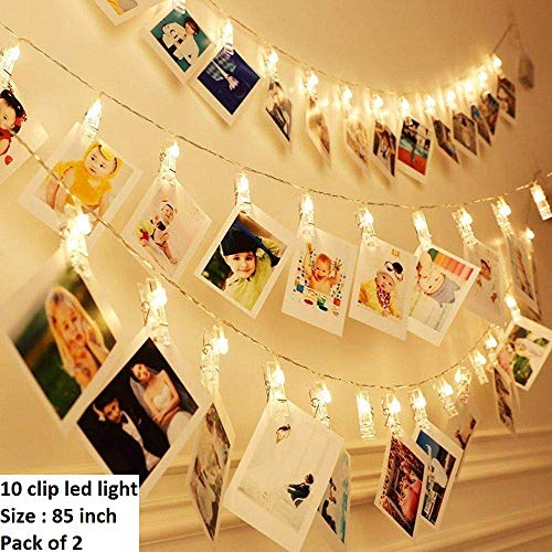 Satyam Kraft 10 Clip Lights Indoor Outdoor Decoration Christmas Light Rope for Party/Birthday/Diwali/Christmas/Navratri (2 Pcs Clip Light)
