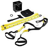 PRO Schlingentrainer, Suspension Trainer Fitness System mit Suspension Trainingsband + Aufhängung Anker+ Türanker