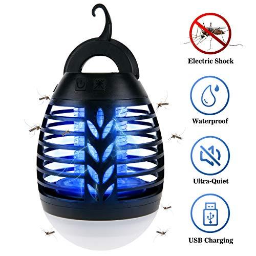 IREGRO Bug Zapper 2 in 1 Lampada Portatile Anti-zanzara LED Lanterna da Campeggio con 3 modalità di...