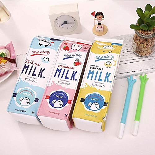 Clarashop Set di 3 astucci per matite a forma di latte, portamatite per bambini