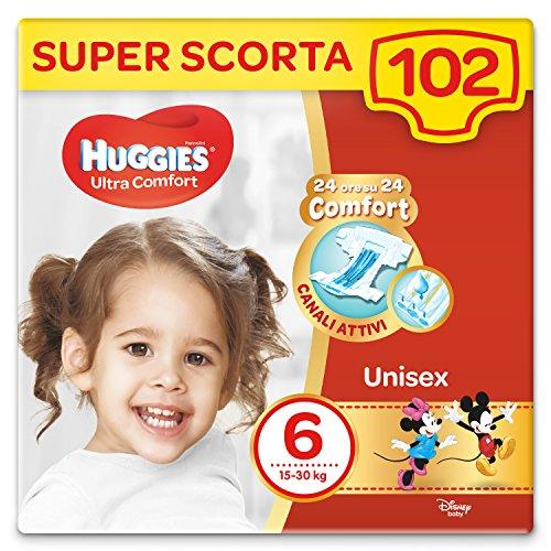 Huggies Pannolini Ultra Comfort, Taglia 6 (16-30 Kg), Confezione da 102 Pannolini