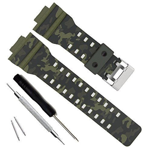 GD120/GA-100/GA-110/GA-100C Cinturino di ricambio in resina naturale per Casio G-Shock da uomo (Camouflage-Green)