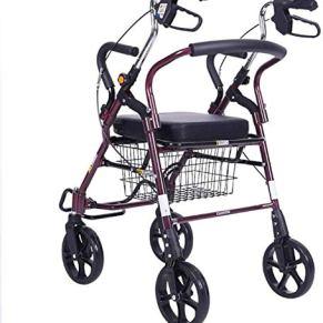 HYSTUR Aluminium Lightweight Folding Four Wheel Rollator Walker with Padded Seat, Lockable Brakes, Ergonomic Handles…