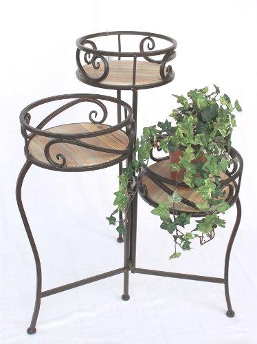 DanDiBo Blumentreppe Metall Braun Rund 63 cm mit 3 Körbe Blumenständer 14043 Beistelltisch Pflanzenständer Holzablage Blumensäule