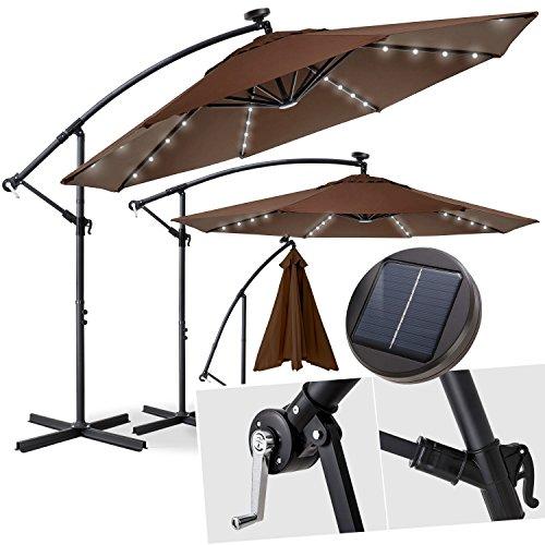 Kesser® Alu Ampelschirm Ø 300 cm✔LED ✔mit An-/Ausschalter ✔Solarpanel ✔ Kurbelvorrichtung ✔UV-Schutz ✔Aluminium ✔Wasserabweisende Bespannung - Sonnenschirm Schirm Gartenschirm Marktschirm Braun