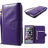 DFV mobile - Crazy Horse PU Leather Wallet Case with Frame Touchable Screen and Card Slots for => Brondi Gladiator > Purple