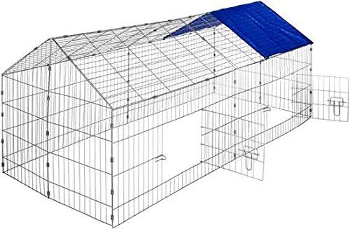 Maxx Kaninchenstall - Hasenkäfig Hasengehege Hasenstall Käfig Freilauf - Gehege Metall mit Sonnenschutz - 220x85x103 cm