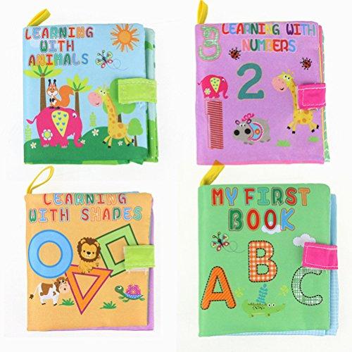 Panno libro,TOYMYTOY Libro stoffa morbido per neonati 3 mesi a 3 anni (4pcs)