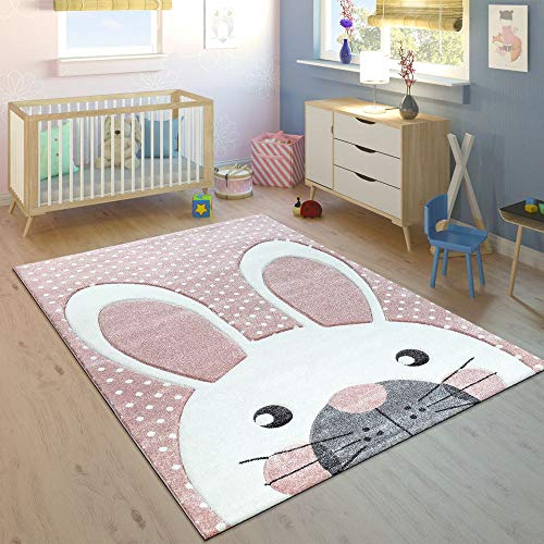 Paco Home Tappeto per Bambini Grazioso Coniglio Pastello Rosa, Dimensione:120x170 cm