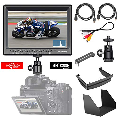 Neewer F200 Monitore da Campo Schermo Ultrasottile 7 pollici IPS 1080P Full HD 1920x1200 Supporta Ingresso HDMI 4k con Istogramma, Fuoco di Assistenza, Sovraesposizione per Fotocamera DSLR