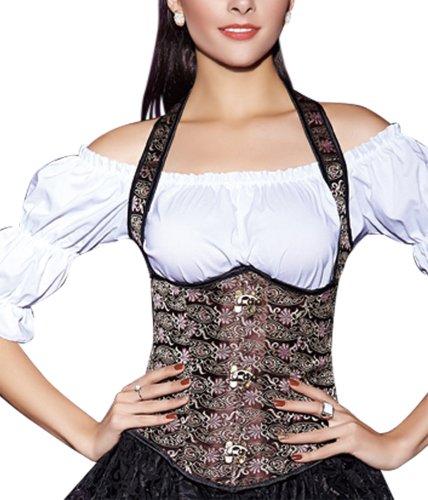 r-dessous Neckholder Unterbrust Korsett Schnür Taillen Corsage Trachten Mieder Bluse Dirndl Corset Party Mode Groesse: XL