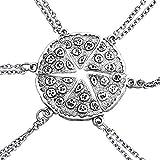 Un conjunto de collares de plata con forma de pizza paquete de seis collares par Amistad