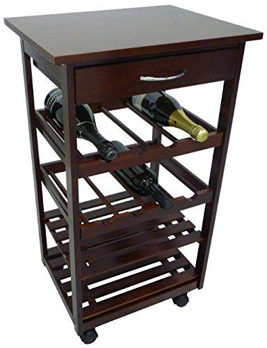 Mobiletto porta bottiglie carrello cantinetta da cucina in legno noce marrone con cassetto e ruote...