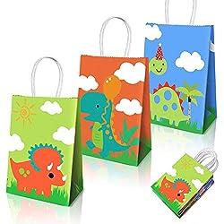 Favores de artículos para fiestas de dinosaurios, bolsos para fiestas de dinosaurios con tema de dinosaurios Decoraciones para fiestas de cumpleaños 15 paquetes (3 diseños)