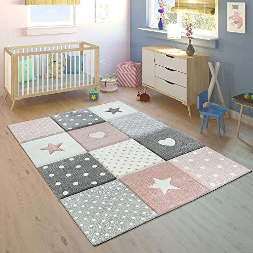 Tappeto per Bambini Colori Pastello Quadri Punti Cuori Stelle Bianco Grigio Rosa, Dimensione:133 cm...