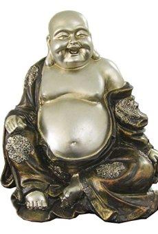 Figura buda de la suerte de resina en color plata y marrón | Happy buda | Tamaño:25x21x27 cm | Portes gratis