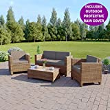 Abreo ROMA 4 Seater Outdoor Garden Rattan Furniture Patio Set Conservatory INCLUDES RAIN COVER Sofa Armchair Coffee Table (Light Mix Brown and Dark Cushions)
