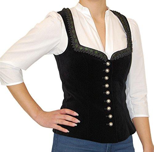 Damen Trachten Mieder Spencer ROSENAU Samt Baumwolle schwarz von Wenger, Größen:36;Farben:schwarz