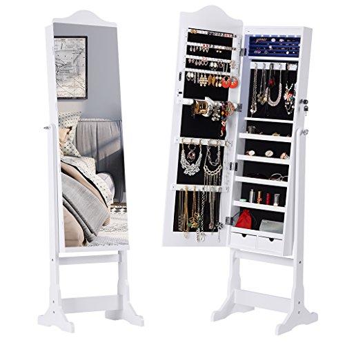 LANGRIA Armadio Specchio Portagioie Gioielli Bloccabile e Stand a Specchio Pieno con Luce di LED e 2...