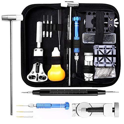 144 Pezzi Tool Kit di Riparazione Orologi, Orologiaio Strumento riparazione Set Professionale...