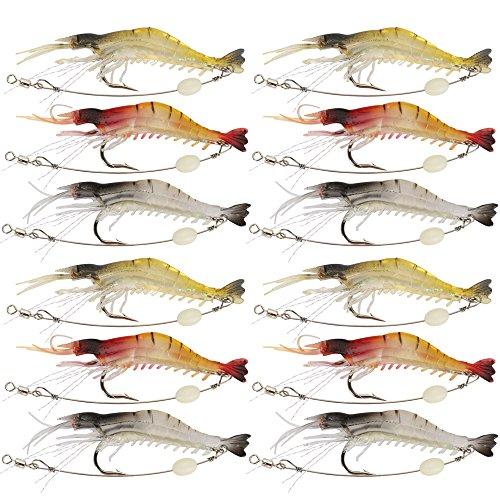 Goture Artificiale Molle del Silicone Bait Luminoso Gambero Colore Misto Spinner Crank-Bait Fishing Lure con Gancio Attrezzatura di Pesca 3.35'0.013lb