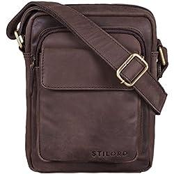 STILORD 'Jannis' Pequeño Bolso Mensajero o Bandolera de Cuero Vintage para Hombre Bolsa de Hombro para Tablet portátil o iPad de 9.7' de auténtica Piel, Color:marrón Oscuro - Opaco
