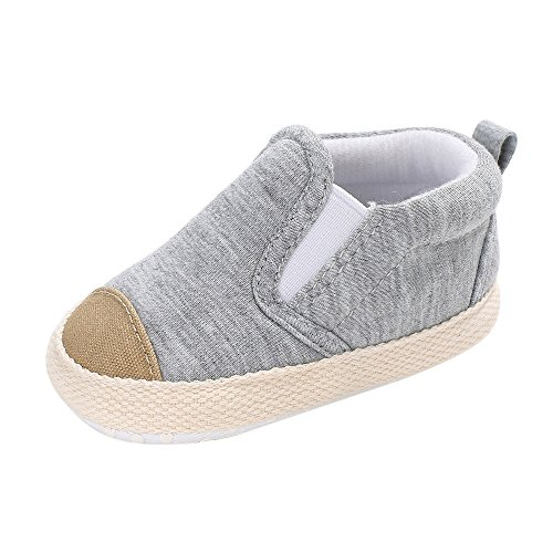 Topgrowth Sneaker Tela Scarpe Bambino Infanzia Strisce Pattini Primi Passi Tela Morbide Scarpine Neonato per 0-18 Mesi (2, Grigio)