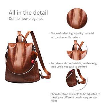Paradox Girl's Water Resistant Vegan Leather Anti-Theft School Shoulder Backpack Bag (Black) 5