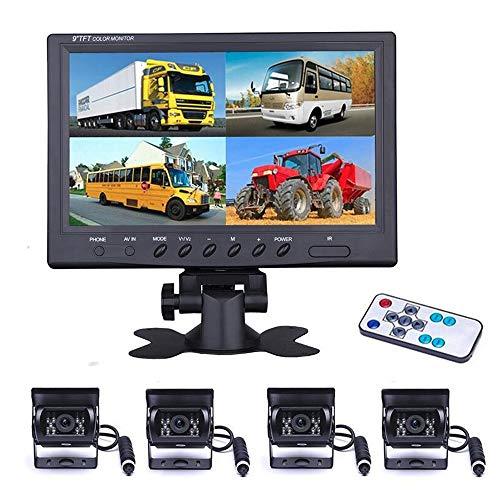 Camecho Veicolo monitor backup camera 22,9 cm 4 split Front / Rear View camera 18 IR visione notturna impermeabile borsa per fotocamera con cavo 0,6 x 10,1 m e 0,6 x 19,8 m per camper rimorchi bus