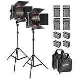 Neewer 2-Pack 660 LED Video Luz Regulable Bi-Color con Parasol y 1,83cm Soporte de Luz,4-Pack 6600mAh Battería Li-Ion Recargable y Cargador para Fotografía Estudio Youtube Video(Rojo)