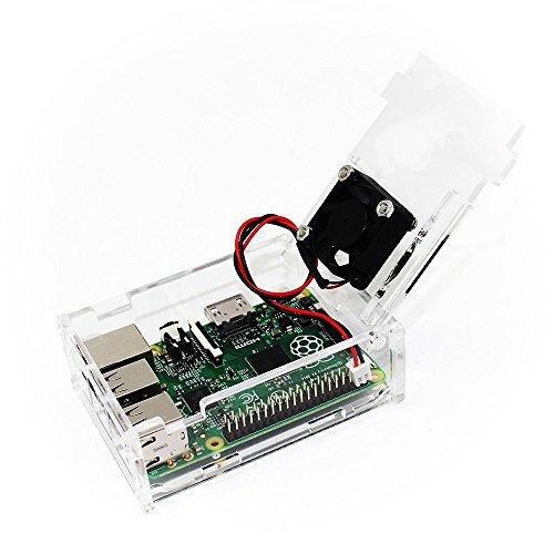 51B23yFQOpL - TRIXES Caja Acrílica Transparente con Ventilador de Enfriamiento para Raspberry Pi Modelo B+, Raspberry Pi 2 Modelo B y Raspberry Pi 3