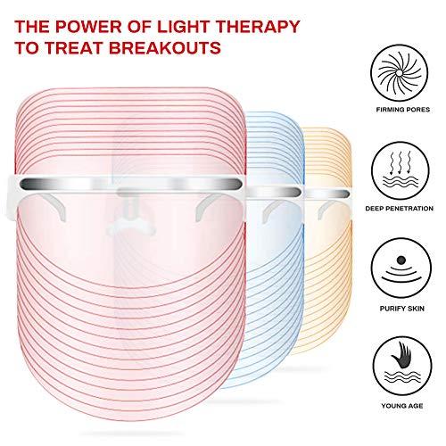 LED masque facial de traitement, Acne traitement Masque, Anti-âge masque, Masque de Luminothérapie LED Photon Therapy, 3 couleurs faciales t... 24