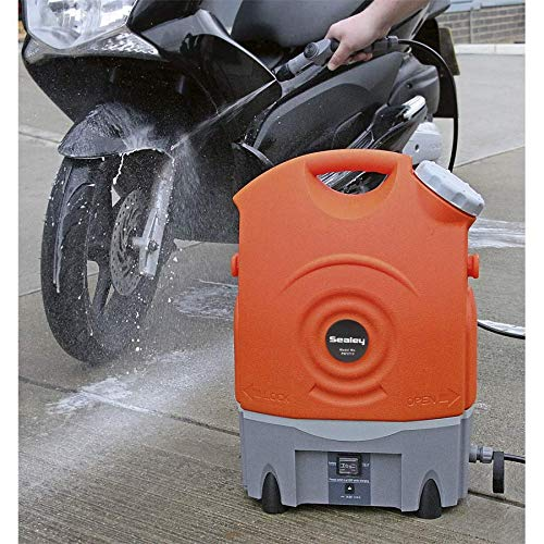 Sealey PW1712 Pressure Washer 12V Rechargeable The Sealey PW1712 Pressure Washer is a lightweight unit that you can purchase to help you with a number of cleaning applications. Created out of metal and plastic, this unit comes with a water capacity of 17litres. This is higher than any of the models featured in this review. The detachable water tank makes refills and cleaning the unit easy.