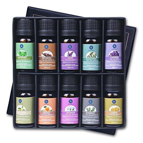 Lagunamoon ätherischen Ölen, Top 10 reine Aromatherapie Öle Geschenk-Set Lavendel Orange Pfefferminz, Zitrone, Rosmarin Ätherisches Öl