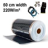 Elektrische Infrarot-Fußbodenheizung 50 cm, 220 Watt/m² Heizfolie (2,0 m²)