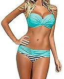 Tuopuda® Bikini Donna Mare Costumi da Bagno Push up Imbottito Sexy Spiaggia Beachwear (XL, blu)