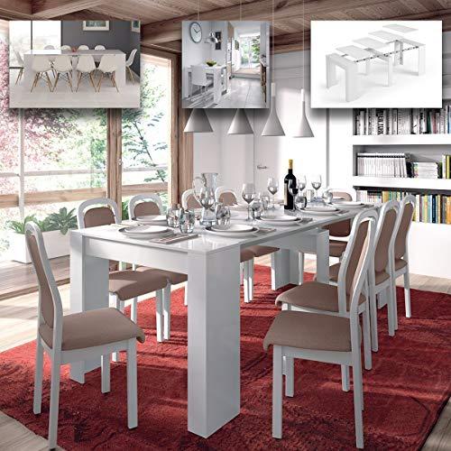 MarinelliGroup Tavolo allungabile Fino a 237 cm consolle per Soggiorno Cucina Bianco Lucido in...