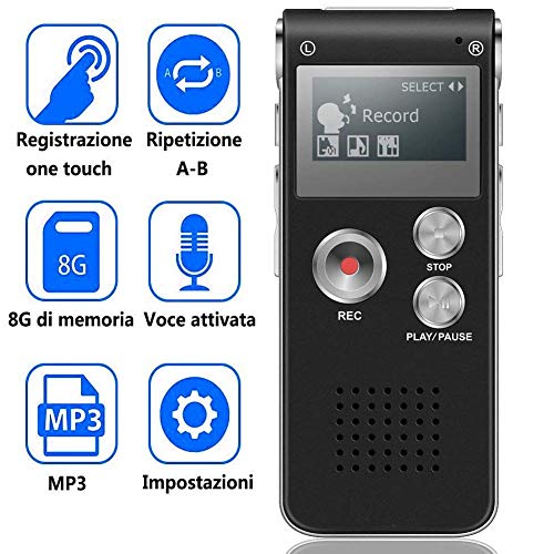 BIGFOX Registratore Vocale Digitale 8GB di Memoria USB Portatile Lettore Musicale MP3
