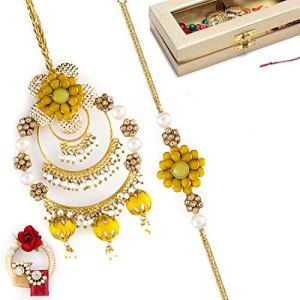 Aapno Rajasthan Lovely Yellow & Pearl Rich Bhaiya Bhabhi Rakhi Set 8