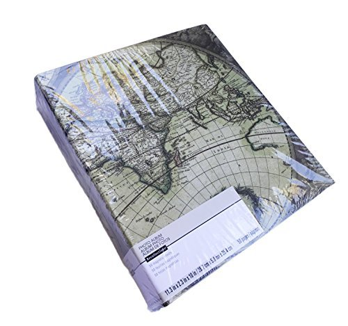 """World Map Photo Album 11"""" x 10"""" with 50 Magnetic Pages"""