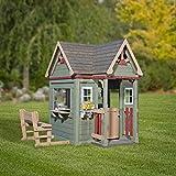 Beauty.Scouts Holzspielhaus Vala mit Spielzubehör 188x165,1x170,2cm aus Zedernholz in grün Kinder Spielhaus Kinderspielhaus Ranch Stil Gartenhaus