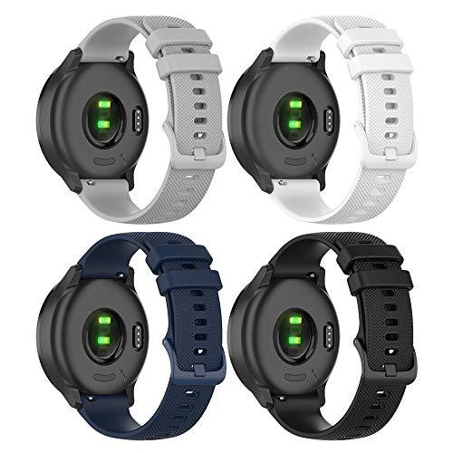 TUSITA Rilascio Rapido Cinturino 20mm per Garmin Approach S40, Forerunner 245 645, Venu, Vivoactive 3 Music, Vivomove 3 HR Luxe Style - Braccialetto in Silicone di Ricambio - Accessori Smart Watch