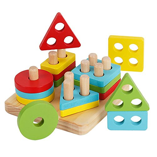 Afunti Puzzle Forme Geometriche Legno Impilatore Giocattoli Montessori Blocchi Costruzioni in Legno...